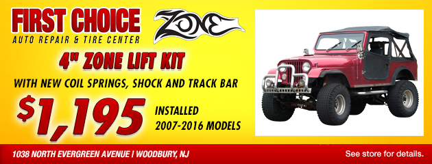 Zone Offroad 4-inch lift kit special for $1195