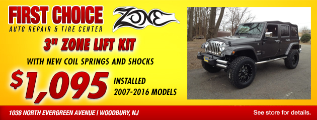 Zone Offroad 3-inch lift kit special for $1095